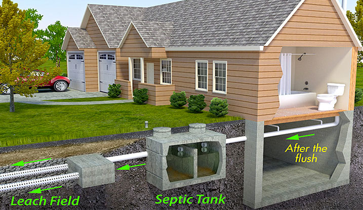Sewer and septic tank